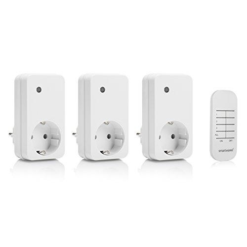 Smartwares Schalter SmartHome Basic Funksteckdosen im 3er Set mit Fernbedienung, HomeWizard kompatibel, SH4-99552, 230 V, Weiß