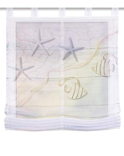 Clever-Kauf-24 Home Fashion Schlaufenraffrollo Voile Digitaldruck FISCIO, Polyester, Blau, Höhe x Breite 140 x 80 cm | Raffrollo mit Maritimen Motiv