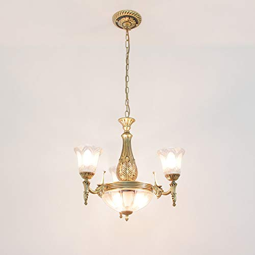 Kronleuchter klassisch/Messing antik / 6-flammig / E27 / Jugendstil Lampe/antike Hängeleuchte Wohnzimmer/Schlafzimmer Leuchte edel/Klassik Stil/Beleuchtung innen