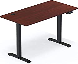 """commercial SHW large computer desk, electrically adjustable height, 55 """"55″ x 28 """", cherry height adjustable desks"""