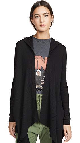 Splendid Women's Thermal Wrap Hooded Cardigan, Black, Medium