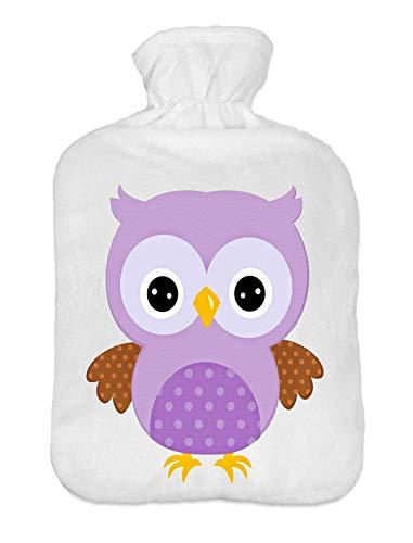 Wärmflasche mit Pullover Bezug 2 Liter Bettflasche mit schönen Fleece-Druck Bezug Gummi Wärmflasche mit Deckel Lila Eule [092]