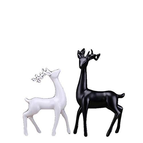 LOSAYM Estatuas Figuritas Decoración Escultura Decoración Estatuas Figuritas Estatua De Ciervo Blanco Y Negro Esculturas Ciervos De Resina Sala De Estar Dormitorio Gabinete De Vino Adornos Artesanías