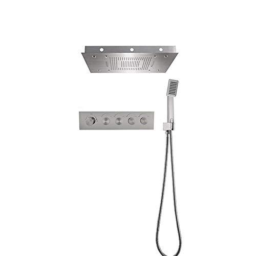 ShiSyan Kit de Ducha LED Ducha de Mano Ducha Rectangular Sistema de Agua Temperatura Ajustable, fácil instalación (Material: con el Sistema de Temperatura Constante)