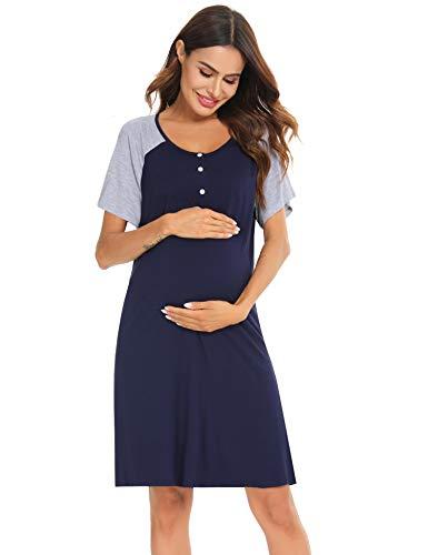 Aibrou Damen Still Nachthemd Umstandsnachthemd Kurzarm Umstandskleid Sommer Nachtwäsche Schwangerschaft mit Knopf für Schwangere Dunkelblau-2 L