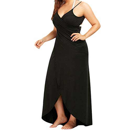 Karrychen Womens Plus Size Summer Adjustable Spaghetti Straps Swimsuit Cover Up Solid Color Beach Party Backless Wrap Long Dress S-5XL- Dark#L