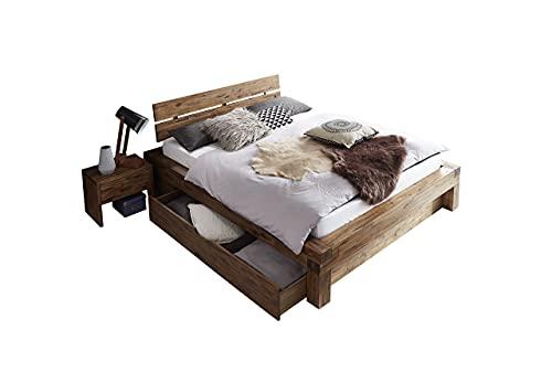 SAM Balkenbett 160x200 cm Alias mit Bettkasten, Holzbett aus Akazienholz, Natur-Holzbett mit geteiltem & angewinkeltem Kopfteil, jedes Bett EIN pflegeleichtes Unikat