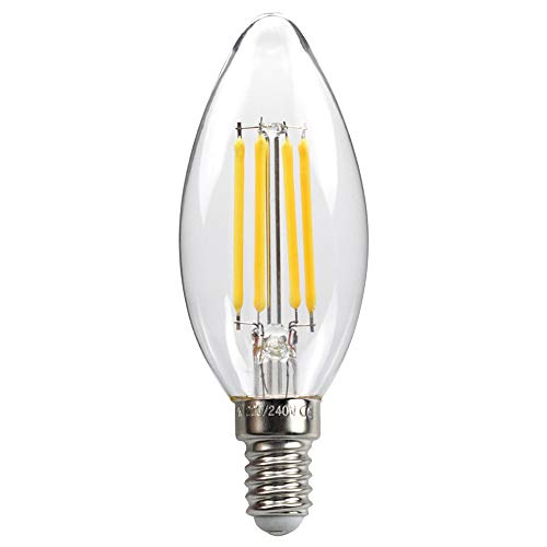 E14 kaars LED-lamp voor kroonluchter, E14 gloeidraad Retrofit Classic, 4W 470 lumen vervangt 40 watt, 2700 K warm wit, filament-draadlamp, glas, niet dimbaar, 3 jaar garantie