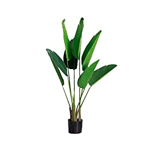Aveo Music Box Large Green Plant Indoor Artificial Tree Simulation Plant Traveler Banana Tree Decoration Fake Flower Pot Plant 115cm Gift
