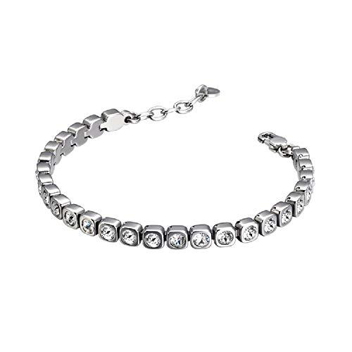 Heideman Armband Damen Amilla III aus Edelstahl Silber farbend matt Tennisarmband mit Steinen Weiss mit Verlängerung Armkette für Frauen Schmuck poliert