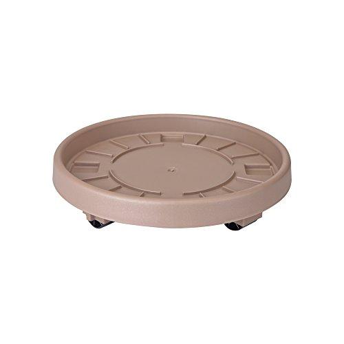 elho - Sottovaso Rotondo con rotelle, 40 cm, Color Tortora
