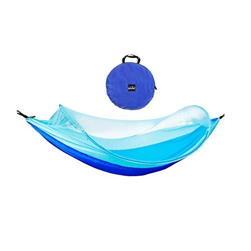 8haowenju Doppel-Camping-Hängematte - Leichte tragbare Nylon-Hängematte, Bester Fallschirm-Rucksack für Hängematten, Camping, Reisen, Strand, Hof (mit Moskitonetz) (Color : Blue)