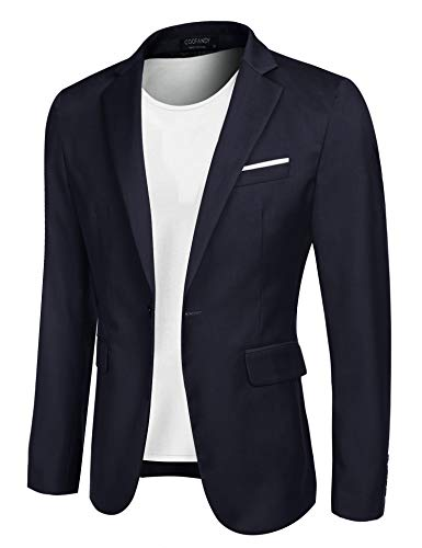 COOFANDY Men's Casual Blazer Jacket Slim Fit Sport Coats Lightweight One Button Suit Jacket Dark Blue