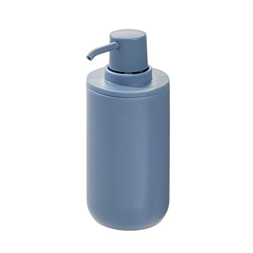 iDesign Dispensador de jabón, dosificador de jabón redondo en plástico para baño o cocina, bote dosificador recargable para jabón o loción de 355 ml de capacidad, azul
