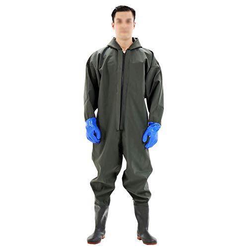 Anglerhose Mit Stiefel, Wathosen Angeln mit Gummistiefeln zum Angeln und Jagen Wasserdicht und Langlebig Arbeitskleidung (Color : Army Green, Size : 40)