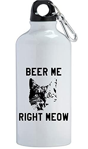 Beer Me Right Meow Funny Cat Birra Bottiglia di Acqua In Acciaio Inox Allenamento All'aperto Ciclismo Campeggio a prova di perdite Bianco 400ml