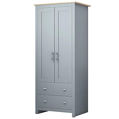 2 Door 2 Drawer Combination Wardrobe 70s Traditional Bedroom Furniture Storage Grey/Oak