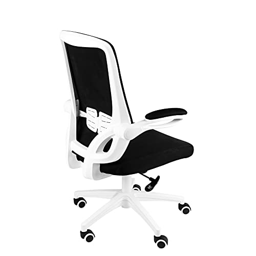 bigzzia Office Desk Chair Adjustable Folding Ergonomic Accessories Computer Study Furniture Mesh Decor Work Stool for Home Studio Conference White