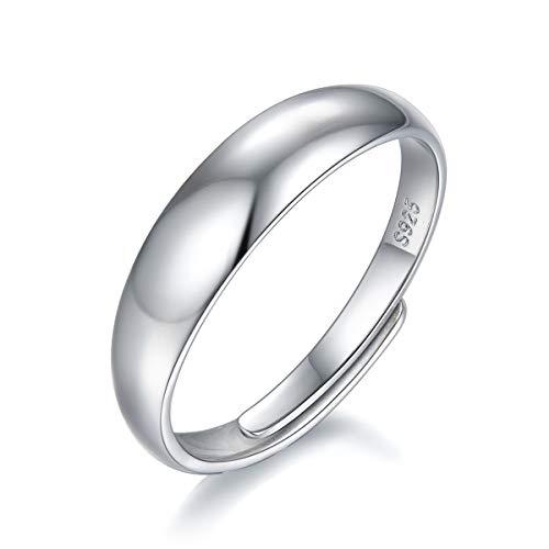Anillo abierto brillante de plata de ley 925 para parejas de 5 mm para hombre y mujer