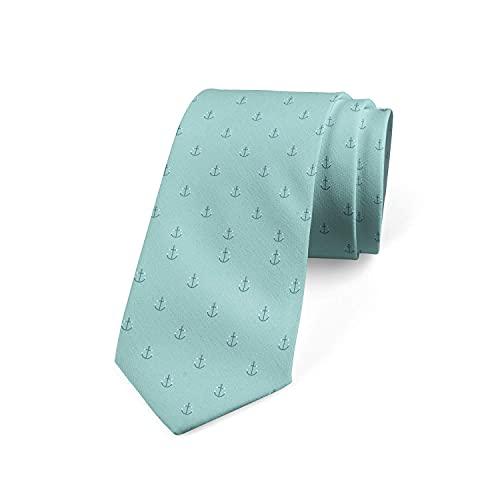 Tcerlcir Corbata Para Hombre Con Diseño De Anclas Repetitivas, Tema Náutico, En Tonos Acuáticos, Corbata De Poliéster Suave Para Uso Formal, Bodas, Bailes, Celebraciones, Fiestas
