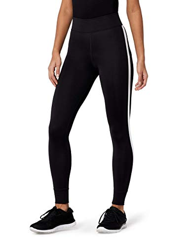 Marca Amazon - AURIQUE Mallas de Entrenamiento 7/8 con Banda Lateral Mujer, Negro (Black), 40, Label:M