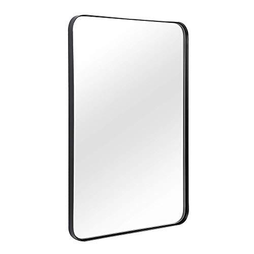 JIZI Espejo de baño Rectangular para Pared,Espejo de Pared con Marco de Metal de Esquina Redondeada para la decoración del baño, Lavabo,Cuarto de baño, Oro Cepillado y Negro