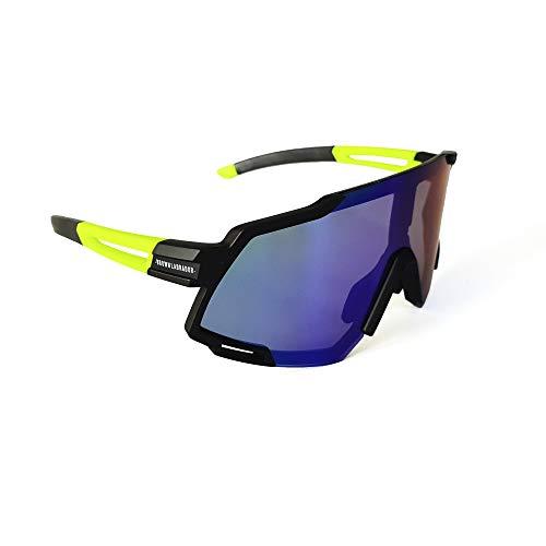 Brown Labrador Gafas Ciclismo polarizadas, fotocromáticas con 6 Lentes Intercambiables UV 400. Gafas Deportivas, Running Trail Running, Ciclismo BTT, para Hombre y Mujer (Black Yellow - by)