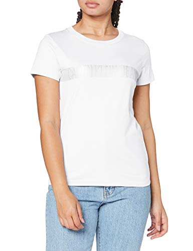 Calvin Klein Metallic Instit Logo Stripe tee Camisa, White, XS para Mujer