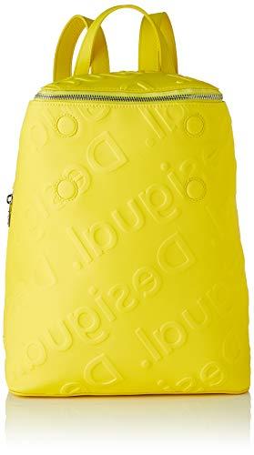 Desigual PU Backpack Big, Mochila de poliuretano grande. para Mujer, amarillo, Medium