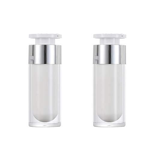 2 STÜCKE 15 ml / 30 ml / 50 ml Leere Nachfüllbar Weiß Acryl hochwertigen Airless Vakuumpumpe Creme Lotion Foundation Flasche Dispenser Vial Reisecreme Lotion Toner Container Topf (30ML)