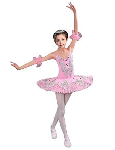 besbomig Chicas Elegante Tul Danza Ballet Vestido de Tutu - Lentejuelas Rosario Flor Falda Leotardo Baile Trajes de Rendimiento