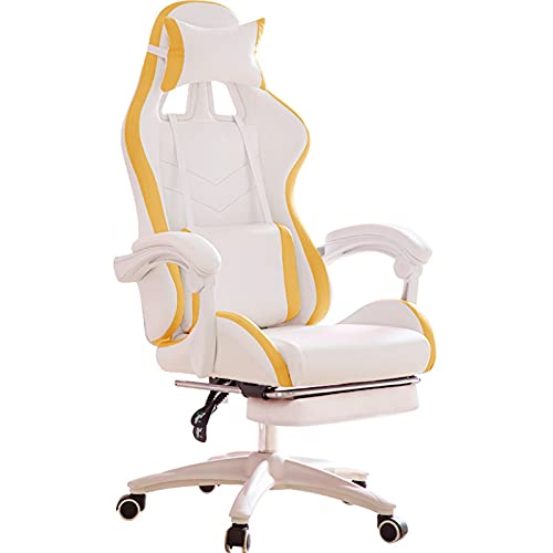 Silla de juegos, ergonómica, silla de oficina con silla reclinable con reposacabezas y soporte lumbar para videojuegos, para adultos, adolescentes, escritorio, color amarillo