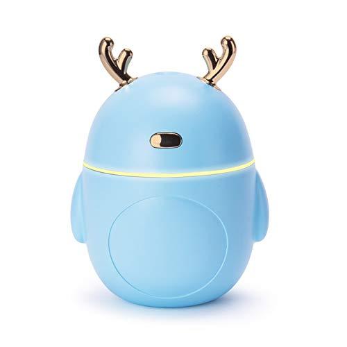 Sdvklly Humidificadores para el hogar Humidificador de Aire de Ciervo Encantador USB Ultrasonic Cool Mist Maker Fogger LED Luz 3 en 1 Mini Difusor de Aroma Aceite Esencial Humificador (Color : Blue)