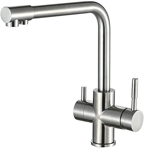 Grifos de filtro de agua de 3 vías Grifo mezclador para fregadero de cocina Latón puro para agua potable con caño giratorio, 2 asas