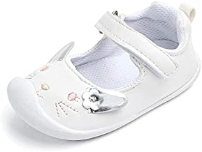 Baby Girls Mary Jane Flats Anti-Slip Rubber Sole Cute Toddler First Walkers Dress Shoes White 12-18 Months