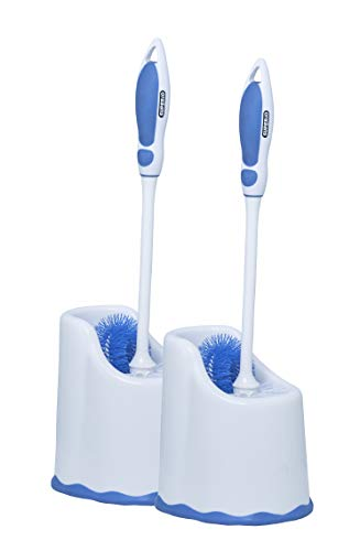 Toilet Brush and Holder (2 Pack) Toilet Bowl Cleaner Brush with Scrubbing Wand, Under Rim Lip Brush and Storage Caddy for Easy Bathroom Cleaning. by Superio (White/Blue)