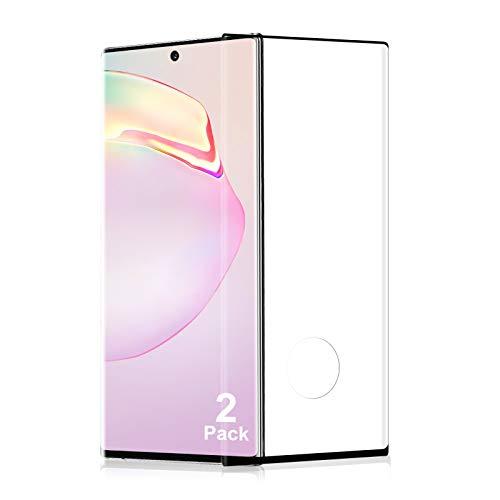 Cristal Templado para Samsung Galaxy Note 10 Plus, 3D Cobertura Completa, Vidrio Templado Protector de Pantalla 9H Dureza, [2 Piezas] Sensible al Tacto, Sin Burbujas, Anti-Rasguños/Dactilares - Negro