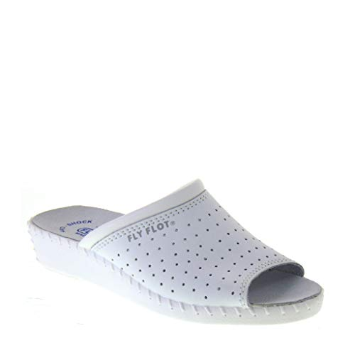 Fly Flot 26034BC Bianco Sanitario Donna Forato Aperto in Punta Sottopiede ANTISHOCK ANATOMICO Made in Italy Bianco 38