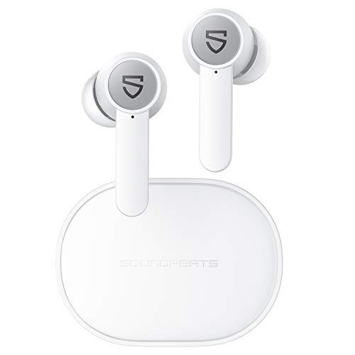 SOUNDPEATS Q ワイヤレスイヤホン ワイヤレス充電対応 7時間連続再生 高音質 Bluetooth イヤホン デュアルマイク搭載 クリア通話 自動ペアリング 小型 軽量 Bluetooth 5.0 完全ワイヤレス イヤホン サウンドピーツ ブルートゥース イヤホン ホワイト