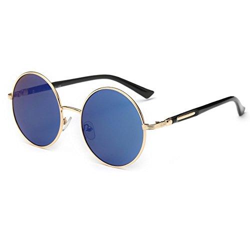 Gafas de sol redondas para mujer de Linyuan, diseño clásico vintage, UV400 azul