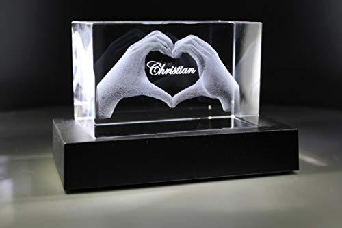 VIP-LASER 3D Glas Kristall mit Gravur I Herz aus Zwei Händen mit Namen graviert Weihnachten Jahrestag Geburtstag (incl. LED-Leuchtsockel (empfohlen))
