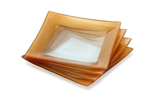 GAC Elegant Designed Square Tempered Glass Dessert Plates Set of 4 – Break and Chip Resistant - Oven Proof - Microwave Safe - Dishwasher Safe 6 Inch