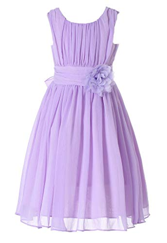 Bow Dream Little Girls Elegant Ruffle Chiffon Summer Flowers Girls Dresses Junior Bridesmaids Lavender 8