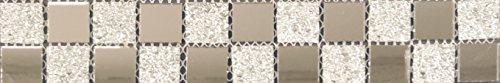 Bordüren Glasmosaik Spiegel-Glas-Mix silber glitzernd ca. 5,3x30x0,4cm Mosako