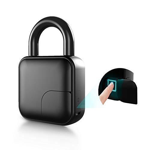 Fingerprint Padlock, New Smart Fingerprint Padlock Anti-Theft Waterproof Safety Dormitory Door Electronic Lock for House Door, Suitcase, Bike, Gym, Office