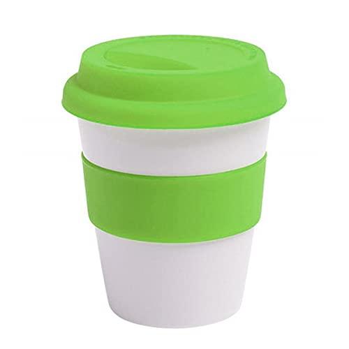 1 unidad de tazas de viaje de cerámica con aislamiento térmico reutilizables de 400 ml, taza de viaje para té y café con funda antideslizante y tapa de silicona 04
