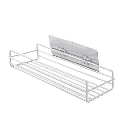 XQK Cesta De Estante de Ducha de baño Estante Montado En La Pared De Perforación Sin Orificio Organizador Adhesivo para Inodoro, Cocina, Dormitorio (Blanco)