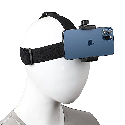 """Head-Mounted Mobile Phone Holder,First-Person View Video Outdoor Live Shooting Bracket with Phone Clip(4""""-7"""") for iPhone Samsung Smartphones and GoPro Insta360 Sony DJI Action Camera Head Mount Strap"""