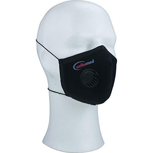 wellsamed Mehrweg Mundschutz Unisex Gesichtsmaske mit Ventil Mund-Nasen-Schutzmaske wiederverwendbar waschbar schwarz Größe L