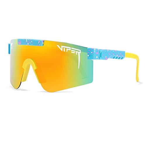 Qianghua Gafas de Sol Deportivas polarizadas, Gafas de protección UV 400 con Personalidad a la Moda y Coloridas, Marco Grande, para Deportes al Aire Libre Ciclismo Correr Escalada Pesca,A15